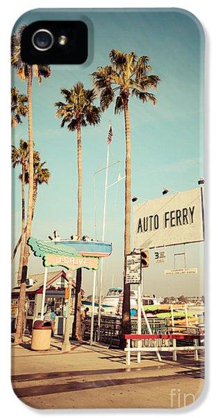 Newport Beach iPhone 5 Cases - Balboa Island Ferry Nostalgic Vintage Picture iPhone 5 Case by Paul Velgos