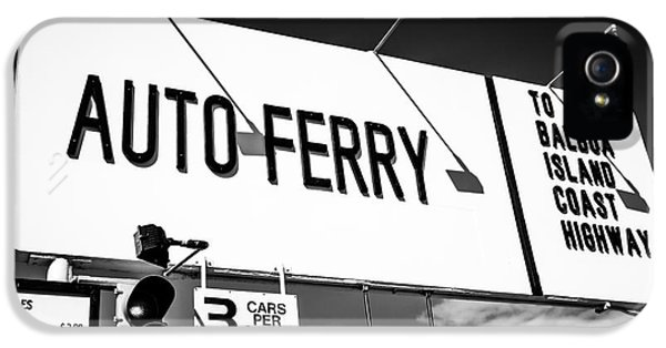 Balboa iPhone 5 Cases - Balboa Island Ferry Sign Black and White Picture iPhone 5 Case by Paul Velgos