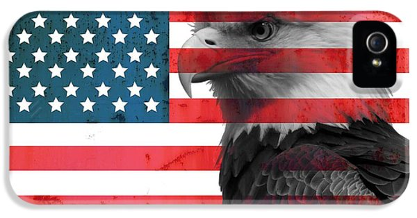 Marine Corps iPhone 5 Cases - Bald Eagle American Flag iPhone 5 Case by Dan Sproul