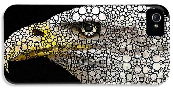 American Bald Eagles iPhone 5 Cases - Bald Eagle Art - Eagle Eye - Stone Rockd Art iPhone 5 Case by Sharon Cummings