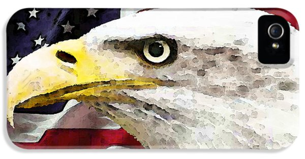 Fourth iPhone 5 Cases - Bald Eagle Art - Old Glory - American Flag iPhone 5 Case by Sharon Cummings