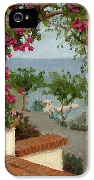 Porch iPhone 5 Cases - Banning House Bougainvillea iPhone 5 Case by Alice Leggett