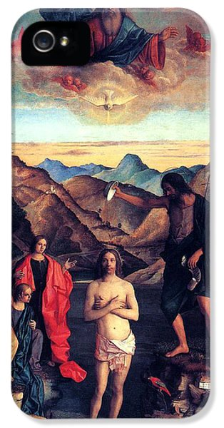 Baptism iPhone 5 Cases - Baptism of Christ with Saint John 1502 Giovanni Bellini iPhone 5 Case by Karon Melillo DeVega