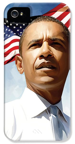 President Obama iPhone 5 Cases - Barack Obama Artwork 1 iPhone 5 Case by Sheraz A