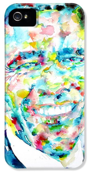 Barack Obama - Watercolor Portrait IPhone 5 / 5s Case by Fabrizio Cassetta