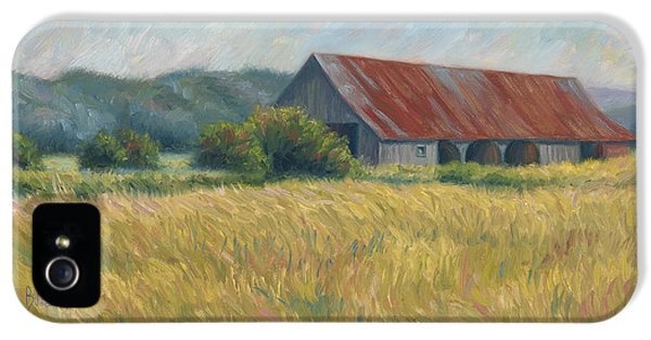 Barn iPhone 5 Cases - Barn In The Field iPhone 5 Case by Lucie Bilodeau
