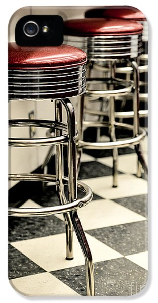 Barstools iPhone 5 Cases - Barstools of vintage roadside diner iPhone 5 Case by Phillip Rubino