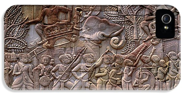 Archeology iPhone 5 Cases - Bas Relief Angkor Wat Cambodia iPhone 5 Case by Panoramic Images