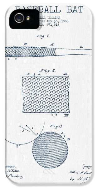 Baseball Bat Patent Drawing From 1904 - Blue Ink IPhone 5 / 5s Case by Aged Pixel