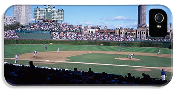 Wrigley Field iPhone 5 Cases - Baseball Match In Progress, Wrigley iPhone 5 Case by Panoramic Images