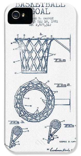 Basketball Goal Patent From 1951 - Blue Ink IPhone 5 / 5s Case by Aged Pixel