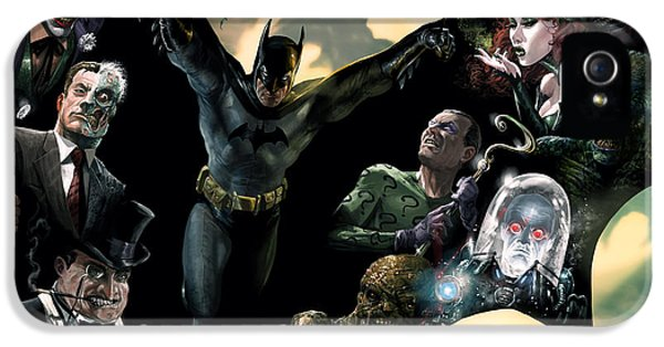 Face iPhone 5 Cases - Batman and Foes iPhone 5 Case by Ryan Barger