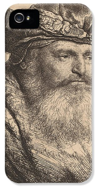 Men In Black iPhone 5 Cases - Bearded Man in a Velvet Cap with a Jewel Clasp iPhone 5 Case by Rembrandt