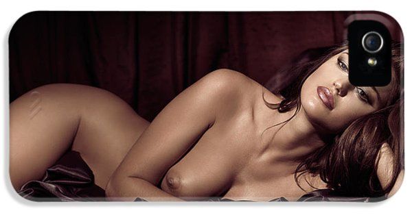 Glamorous iPhone 5 Cases - Beautiful Young Woman Lying Naked in Bed iPhone 5 Case by Oleksiy Maksymenko