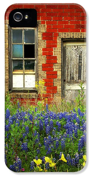 Beauty iPhone 5 Cases - Beauty and the Door - Texas Bluebonnets wildflowers landscape door flowers iPhone 5 Case by Jon Holiday
