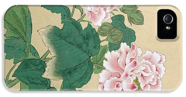 Bee iPhone 5 Cases - Bee and Peony iPhone 5 Case by Ichimiosai
