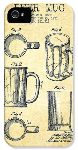 Beer Mug Patent Drawing From 1951 - Vintage IPhone 5 / 5s Case by Aged Pixel