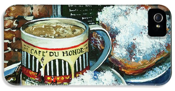 Cafe iPhone 5 Cases - Beignets and Cafe au Lait iPhone 5 Case by Dianne Parks