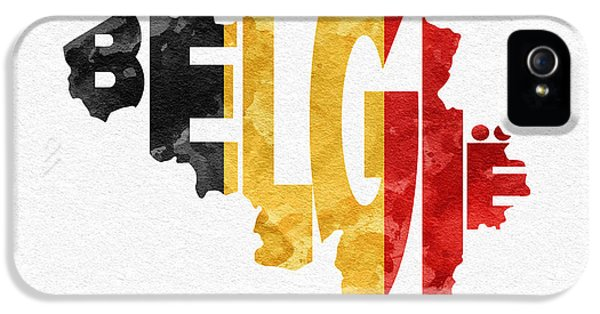 Modern Steampunk iPhone 5 Cases - Belgium Typographic Map Flag iPhone 5 Case by Ayse Deniz