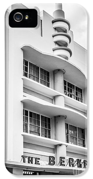 Aves iPhone 5 Cases - Berkeley Shores Hotel - South Beach - Miami - Florida - Black and White iPhone 5 Case by Ian Monk