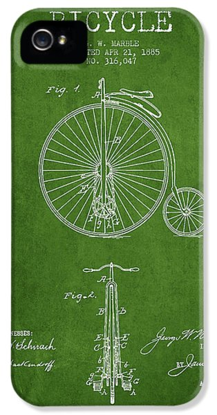 Bicycle iPhone 5 Cases - Bicycle Patent Drawing From 1885 - Green iPhone 5 Case by Aged Pixel