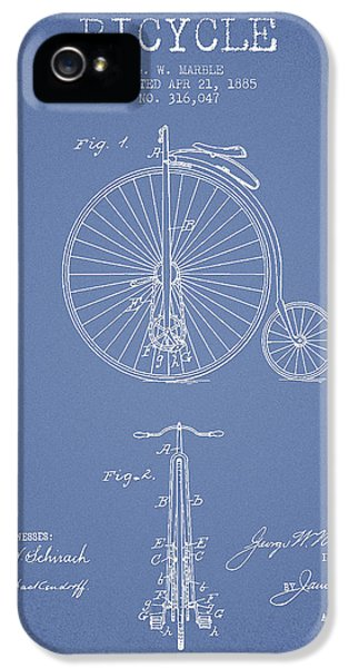 Bicycle iPhone 5 Cases - Bicycle Patent Drawing From 1885 - Light Blue iPhone 5 Case by Aged Pixel