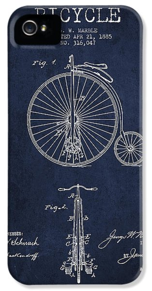Bicycle iPhone 5 Cases - Bicycle Patent Drawing From 1885 - Navy Blue iPhone 5 Case by Aged Pixel