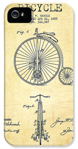 Bicycle iPhone 5 Cases - Bicycle Patent Drawing From 1885 - Vintage iPhone 5 Case by Aged Pixel