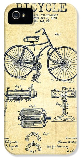 Bicycle Patent Drawing From 1891 - Vintage IPhone 5 / 5s Case by Aged Pixel