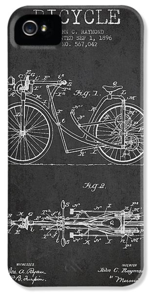 Bicycle iPhone 5 Cases - Bicycle Patent Drawing From 1896 - Dark iPhone 5 Case by Aged Pixel