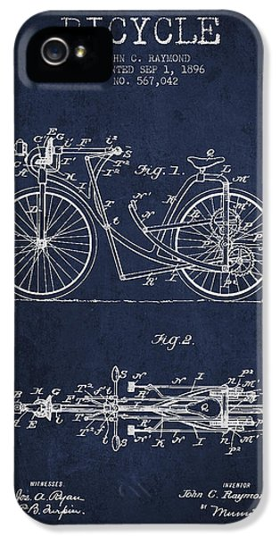 Bicycle Patent Drawing From 1896 - Navy Blue IPhone 5 / 5s Case by Aged Pixel