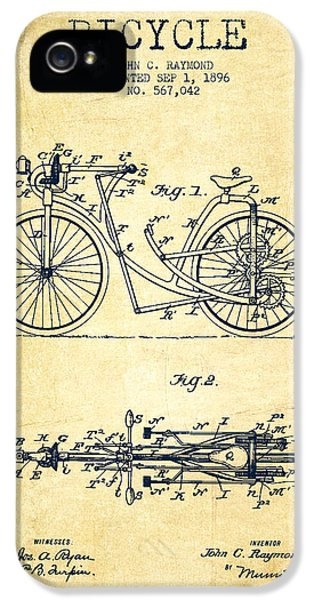 Bicycle iPhone 5 Cases - Bicycle Patent Drawing From 1896 - Vintage iPhone 5 Case by Aged Pixel