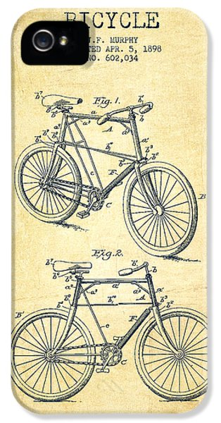 Bicycle iPhone 5 Cases - Bicycle Patent Drawing From 1898 - Vintage iPhone 5 Case by Aged Pixel