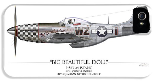 Big Beautiful Doll P-51d Mustang - White Background IPhone 5 / 5s Case by Craig Tinder