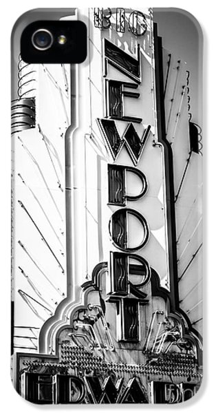 Newport Beach iPhone 5 Cases - Big Newport Edwards Theater Marquee in Newport Beach iPhone 5 Case by Paul Velgos