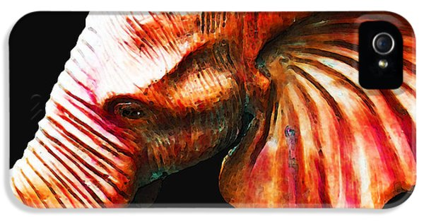 Crimson Tide iPhone 5 Cases - Big Red - Elephant Art Painting iPhone 5 Case by Sharon Cummings