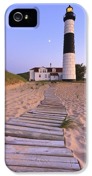 Moon Walk iPhone 5 Cases - Big Sable Point Lighthouse iPhone 5 Case by Adam Romanowicz
