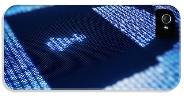 Security iPhone 5 Cases - Binary code and lock shape on pixellated screen iPhone 5 Case by Johan Swanepoel