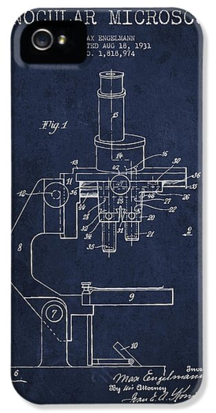 Device iPhone 5 Cases - Binocular Microscope Patent Drawing from 1931 - Navy Blue iPhone 5 Case by Aged Pixel