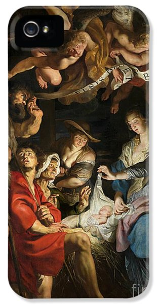 Happy Jesus iPhone 5 Cases - Birth of Christ Adoration of the Shepherds iPhone 5 Case by Peter Paul Rubens