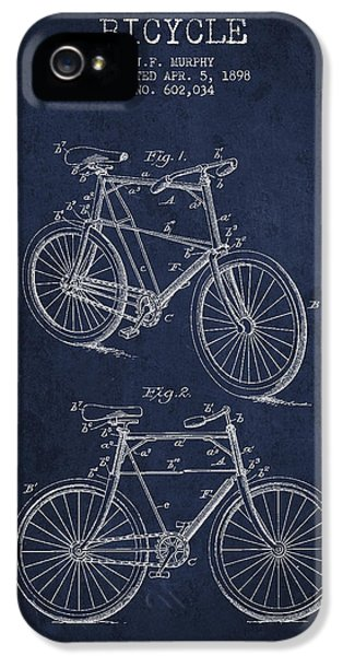 Bicycle iPhone 5 Cases - Bisycle Patent Drawing From 1898 iPhone 5 Case by Aged Pixel