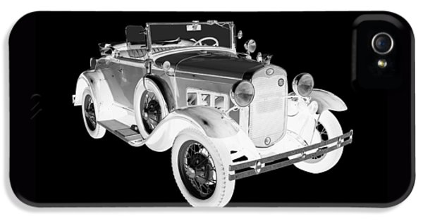1931 Roadster iPhone 5 Cases - Black and White 1931 Ford Model A Cabriolet iPhone 5 Case by Keith Webber Jr