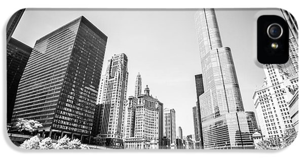 Wrigley iPhone 5 Cases - Black and White Picture of Downtown Chicago iPhone 5 Case by Paul Velgos