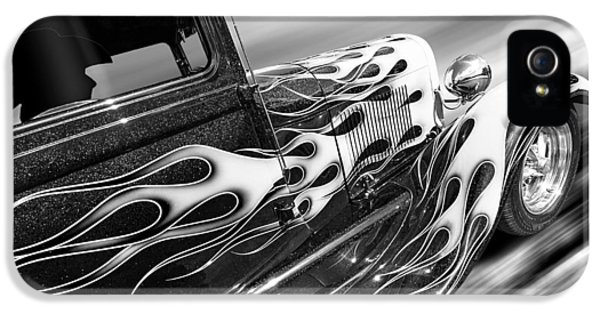1929 Roadster iPhone 5 Cases - Blazing A Trail - Ford Model A 1929 in Black and White iPhone 5 Case by Gill Billington
