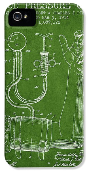 Hospital iPhone 5 Cases - Blood Pressure Cuff Patent from 1914 -Green iPhone 5 Case by Aged Pixel
