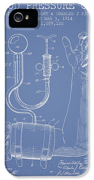 Hospital iPhone 5 Cases - Blood Pressure Cuff Patent from 1914 -Light Blue iPhone 5 Case by Aged Pixel