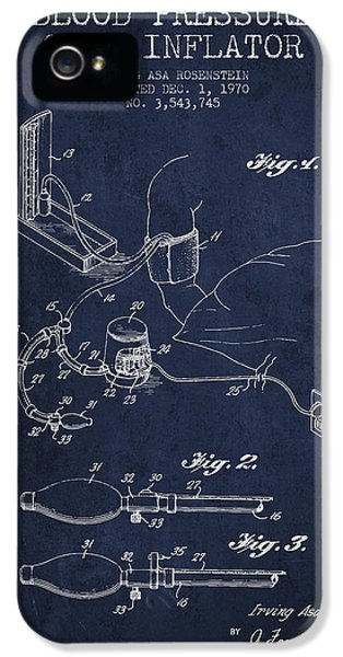 Medical iPhone 5 Cases - Blood Pressure Cuff Patent from 1970 - Navy Blue iPhone 5 Case by Aged Pixel