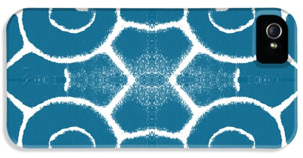 Blue And White Wave Tile- Abstract Art IPhone 5 / 5s Case by Linda Woods
