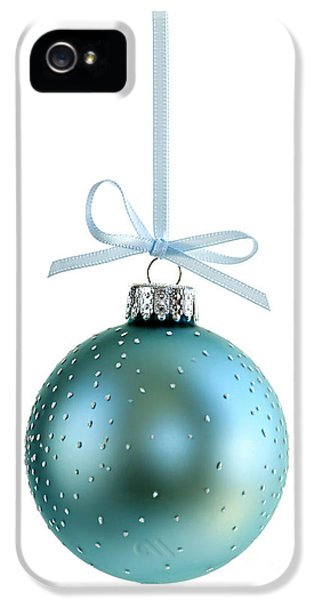 December iPhone 5 Cases - Blue Christmas ornament iPhone 5 Case by Elena Elisseeva