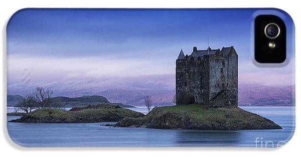 Colour Image iPhone 5 Cases - Blue Dawn Castle Stalker Scotland iPhone 5 Case by John Potter